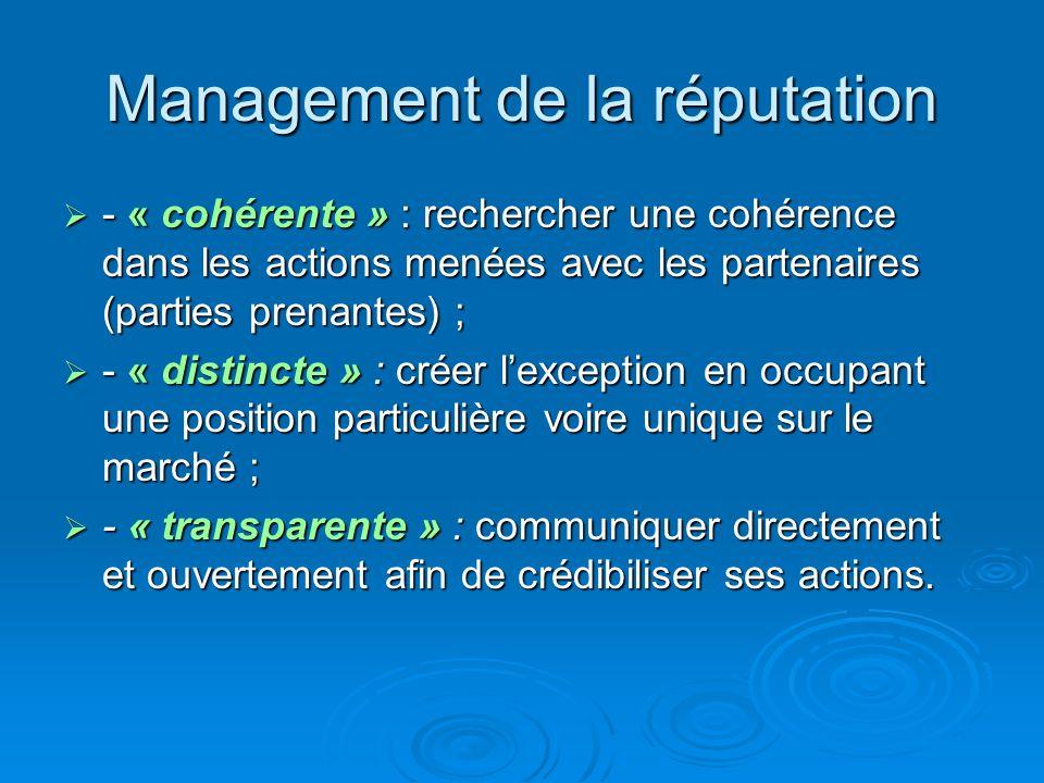 Management de la réputation - « cohérente » : rechercher une cohérence dans les actions menées avec les partenaires (parties prenantes) ; - « cohérent