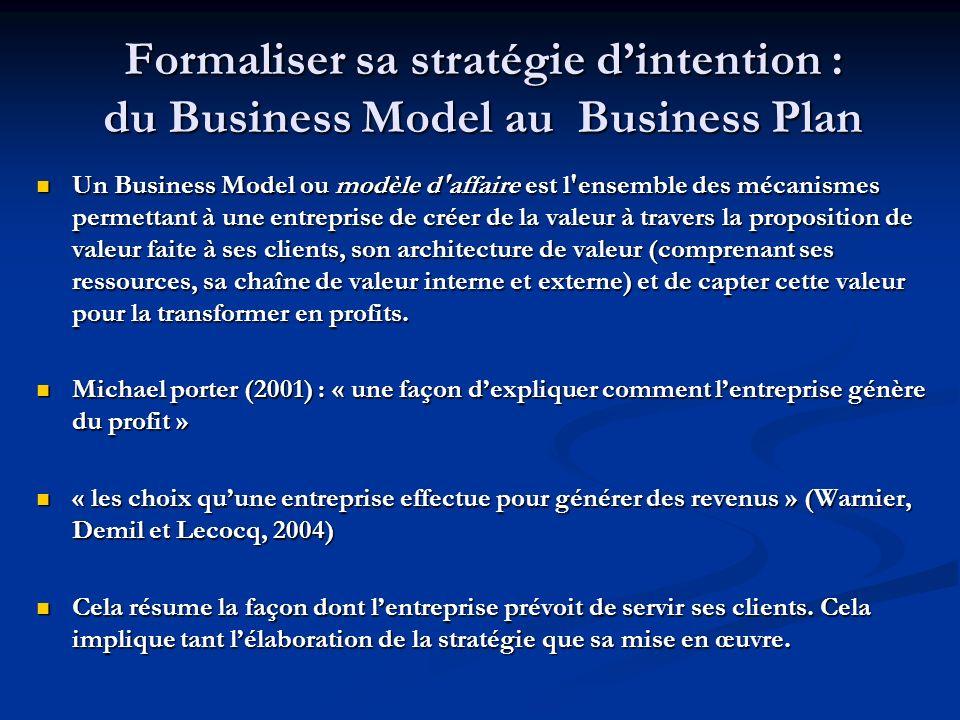 Formaliser sa stratégie dintention : du Business Model au Business Plan Un Business Model ou modèle d affaire est l ensemble des mécanismes permettant à une entreprise de créer de la valeur à travers la proposition de valeur faite à ses clients, son architecture de valeur (comprenant ses ressources, sa chaîne de valeur interne et externe) et de capter cette valeur pour la transformer en profits.
