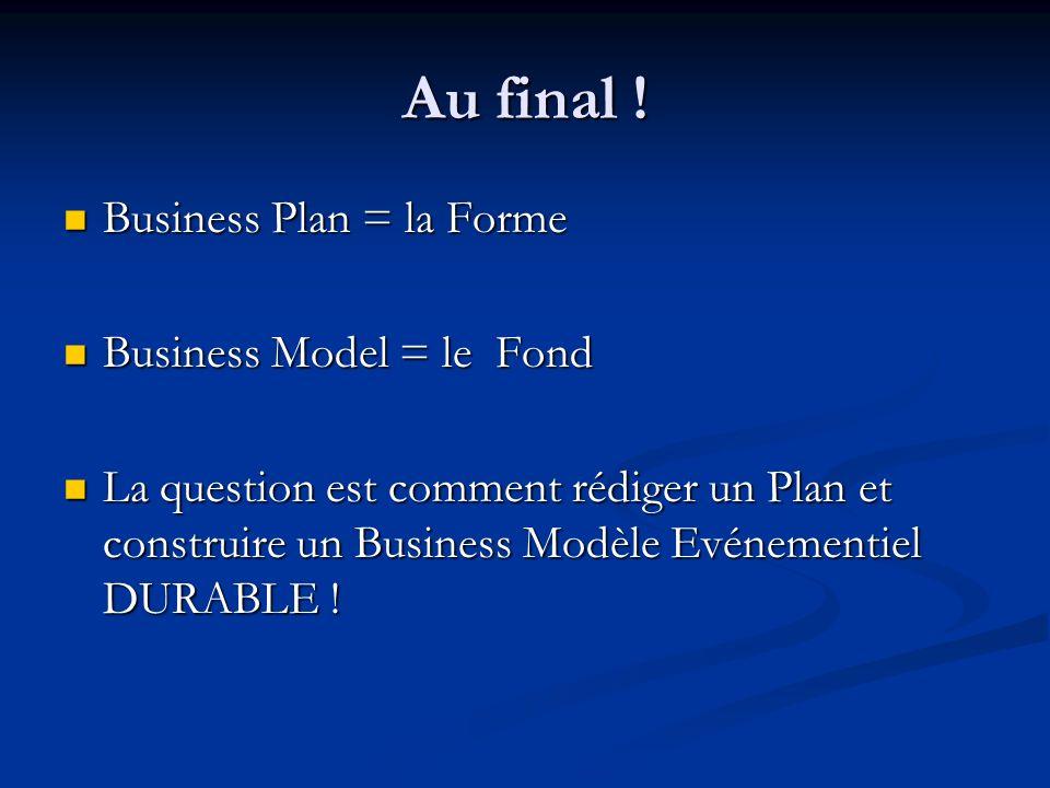Au final ! Business Plan = la Forme Business Plan = la Forme Business Model = le Fond Business Model = le Fond La question est comment rédiger un Plan