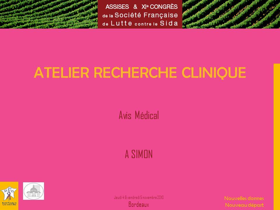 Jeudi 4 & vendredi 5 novembre 2010 Bordeaux Nouvelles donnes Nouveau départ ATELIER RECHERCHE CLINIQUE Avis Médical A SIMON