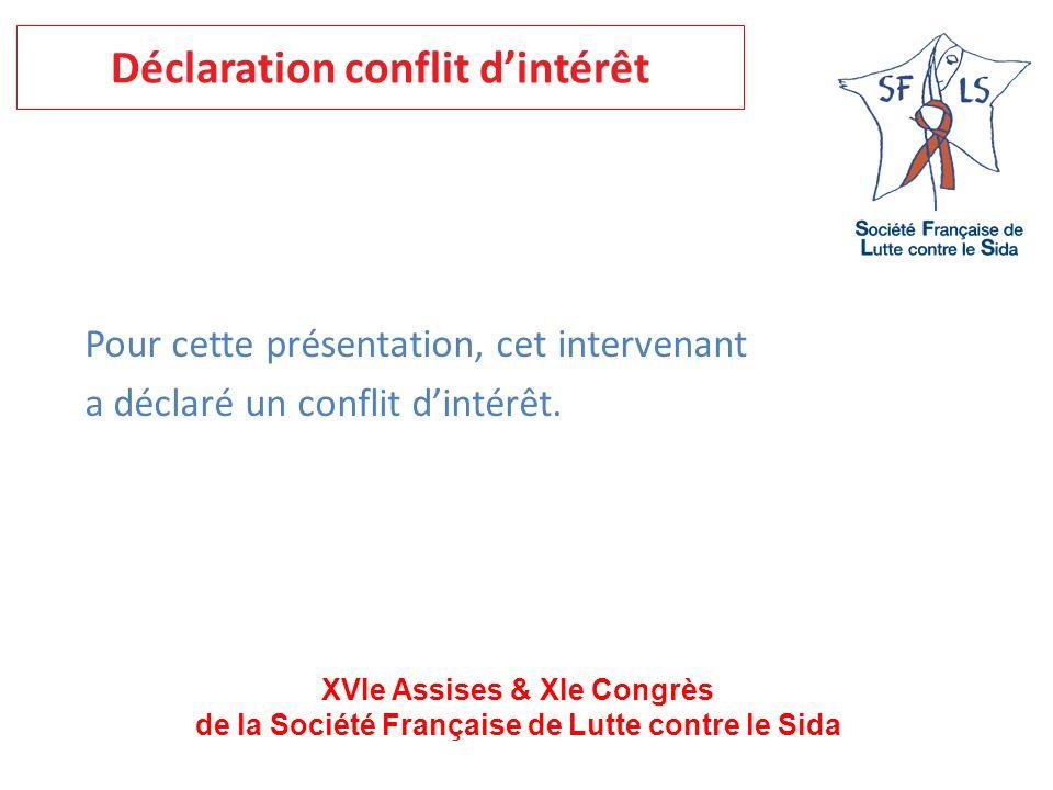 XVIe Assises & XIe Congrès de la Société Française de Lutte contre le Sida Pour cette présentation, cet intervenant a déclaré un conflit dintérêt.