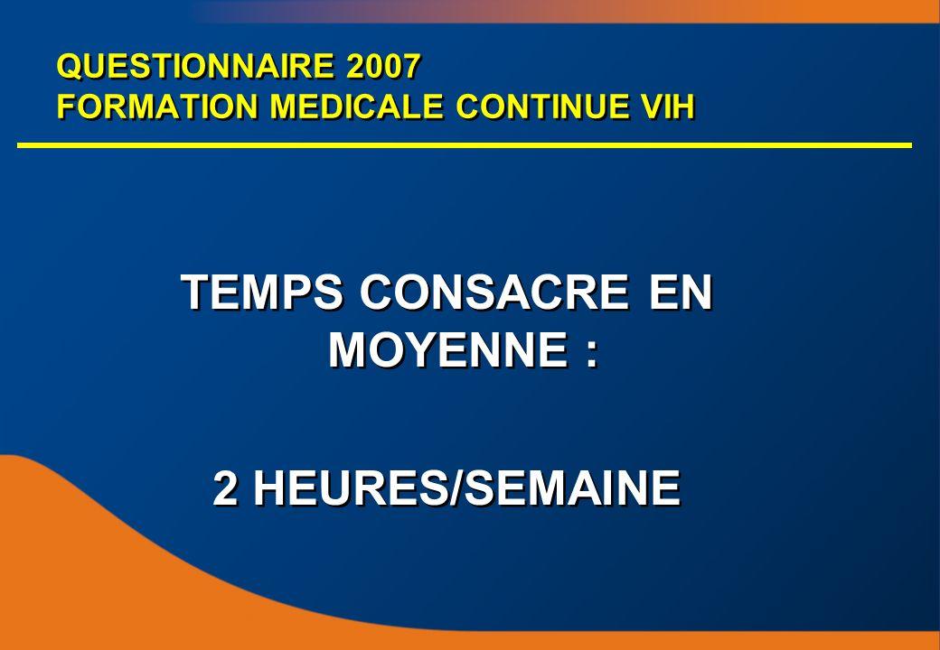 QUESTIONNAIRE 2007 FORMATION MEDICALE CONTINUE VIH TEMPS CONSACRE EN MOYENNE : 2 HEURES/SEMAINE TEMPS CONSACRE EN MOYENNE : 2 HEURES/SEMAINE