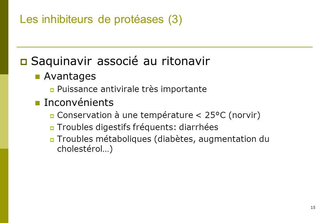 15 Les inhibiteurs de protéases (3) Saquinavir associé au ritonavir Avantages Puissance antivirale très importante Inconvénients Conservation à une température < 25°C (norvir) Troubles digestifs fréquents: diarrhées Troubles métaboliques (diabètes, augmentation du cholestérol…)
