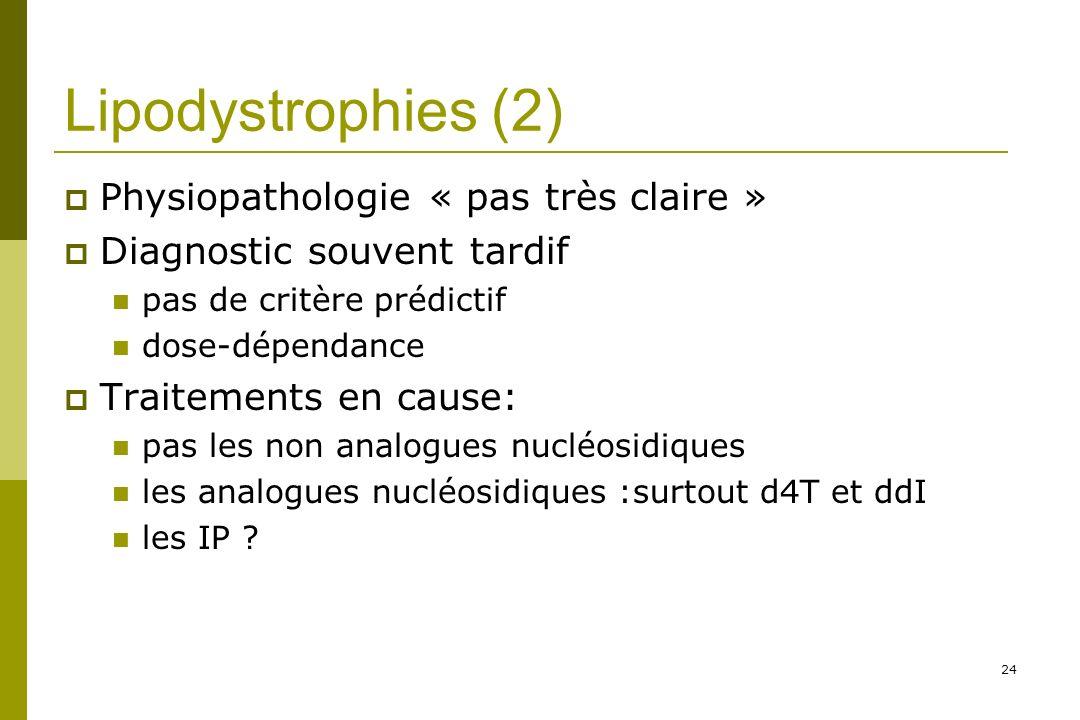 24 Lipodystrophies (2) Physiopathologie « pas très claire » Diagnostic souvent tardif pas de critère prédictif dose-dépendance Traitements en cause: pas les non analogues nucléosidiques les analogues nucléosidiques :surtout d4T et ddI les IP ?