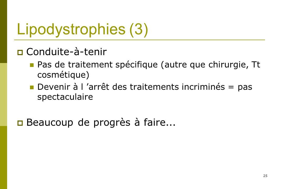 25 Lipodystrophies (3) Conduite-à-tenir Pas de traitement spécifique (autre que chirurgie, Tt cosmétique) Devenir à l arrêt des traitements incriminés = pas spectaculaire Beaucoup de progrès à faire...