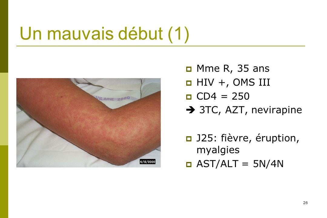 26 Un mauvais début (1) Mme R, 35 ans HIV +, OMS III CD4 = 250 3TC, AZT, nevirapine J25: fièvre, éruption, myalgies AST/ALT = 5N/4N