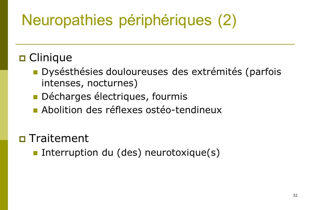 32 Neuropathies périphériques (2) Clinique Dysésthésies douloureuses des extrémités (parfois intenses, nocturnes) Décharges électriques, fourmis Abolition des réflexes ostéo-tendineux Traitement Interruption du (des) neurotoxique(s)