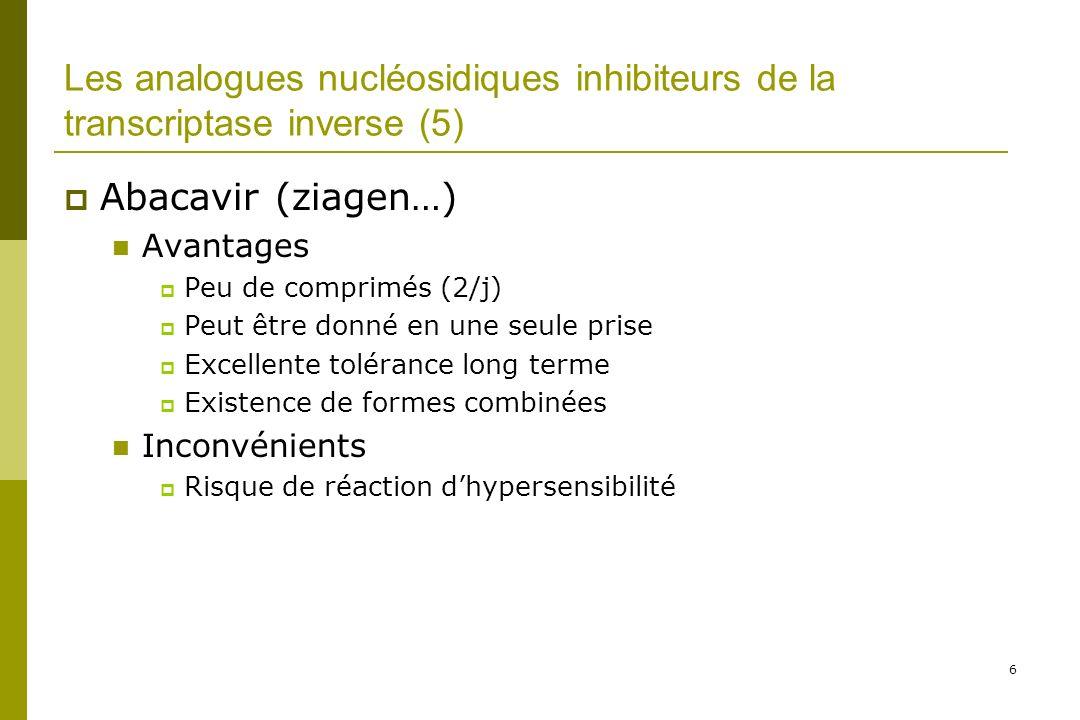 Les médicaments du SIDA Les médicaments actuels Les analogues nucléosidiques et nucléotidiques –AZT (zidovudine), d4T (stavudine), 3TC (lamivudine), FTC (emtricitabine), ddI (didanosine), ABC (abacavir), TDF (ténofovir) Les non analogues nucléosidiques –NVP (névirapine) et EFV (efavirenz) Les antiprotéases –NFV (nelfinavir), LPV/r (Lopinavir-ritonavir) IDV (indinavir), APV (amprénavir), SQV (saquinavir), ATZ (atazanavir)