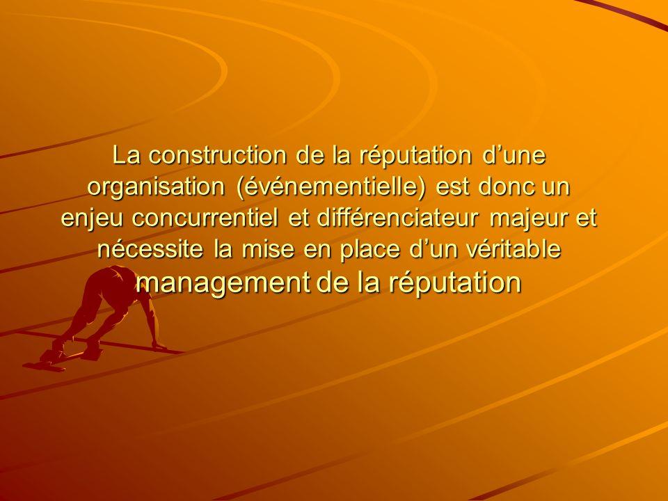 La construction de la réputation dune organisation (événementielle) est donc un enjeu concurrentiel et différenciateur majeur et nécessite la mise en place dun véritable management de la réputation