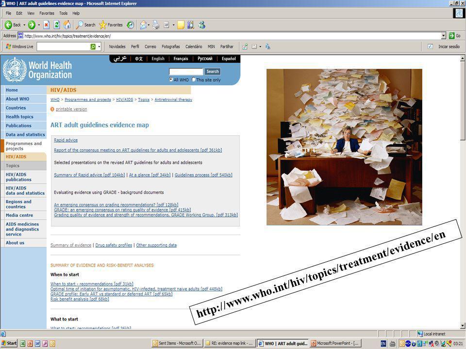 Jeudi 4 & vendredi 5 novembre 2010 Bordeaux Nouvelles donnes Nouveau départ http://www.who.int/hiv/topics/treatment/evidence/en