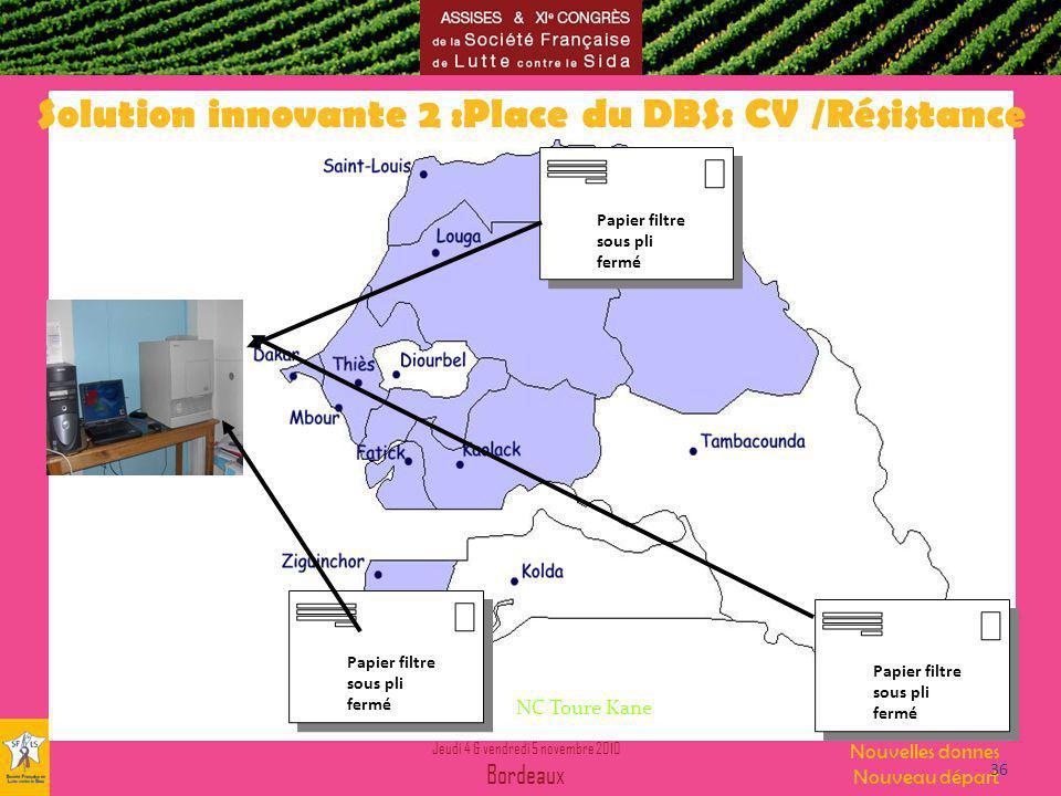 Jeudi 4 & vendredi 5 novembre 2010 Bordeaux Nouvelles donnes Nouveau départ Papier filtre sous pli fermé Solution innovante 2 :Place du DBS: CV /Résistance NC Toure Kane 36