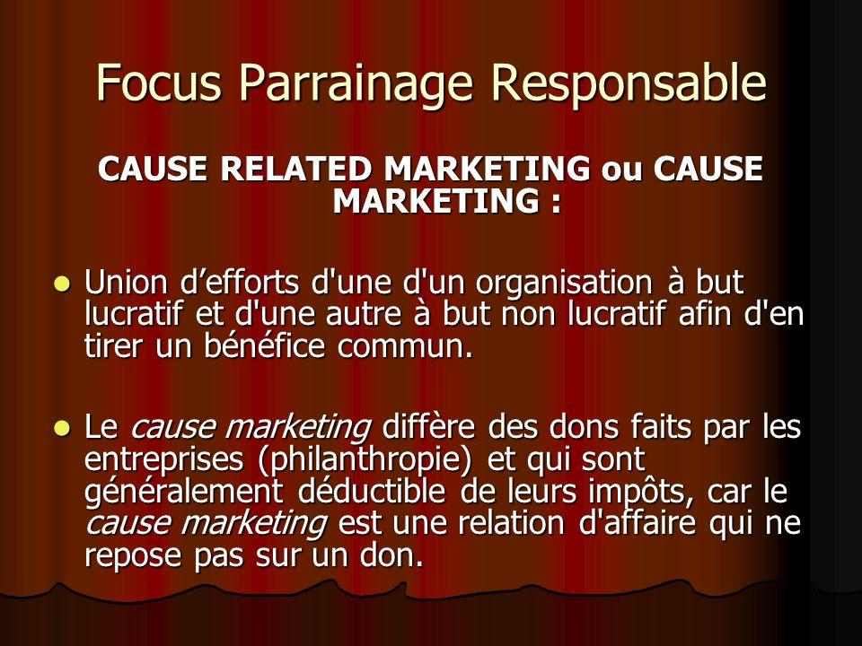 Focus Parrainage Responsable CAUSE RELATED MARKETING ou CAUSE MARKETING : Union defforts d une d un organisation à but lucratif et d une autre à but non lucratif afin d en tirer un bénéfice commun.