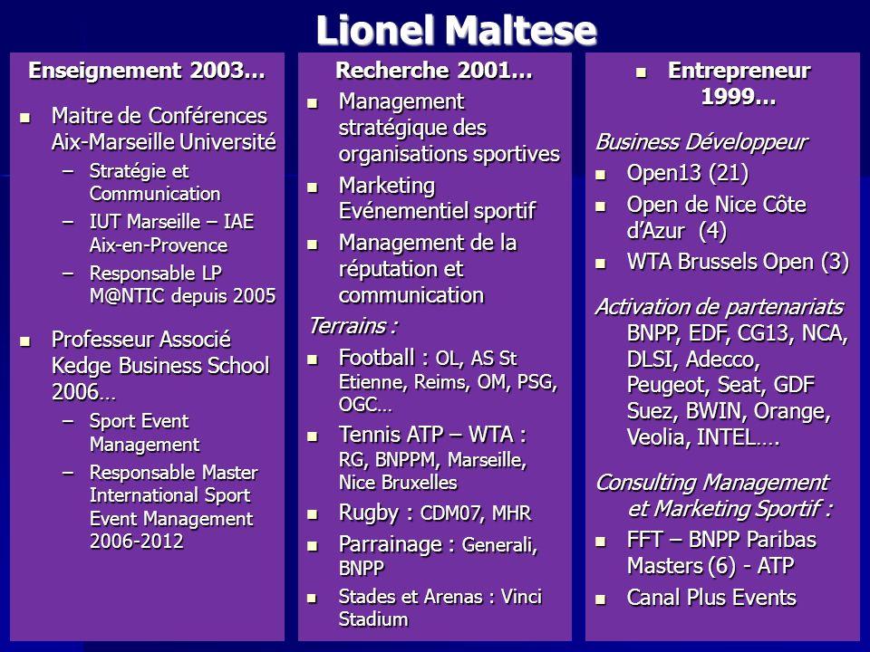 Lionel Maltese Enseignement 2003… Maitre de Conférences Aix-Marseille Université Maitre de Conférences Aix-Marseille Université –Stratégie et Communic