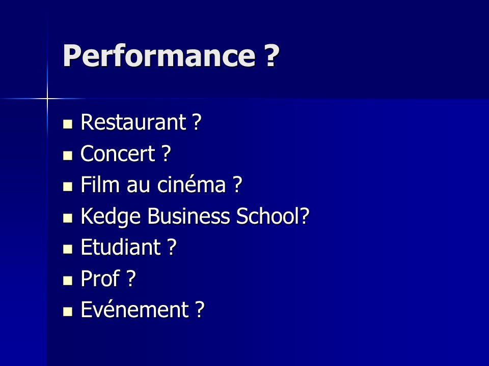 Performance ? Restaurant ? Restaurant ? Concert ? Concert ? Film au cinéma ? Film au cinéma ? Kedge Business School? Kedge Business School? Etudiant ?
