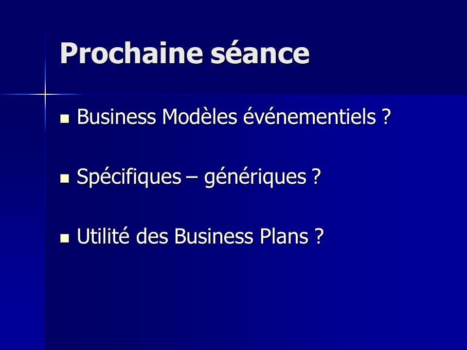 Prochaine séance Business Modèles événementiels ? Business Modèles événementiels ? Spécifiques – génériques ? Spécifiques – génériques ? Utilité des B