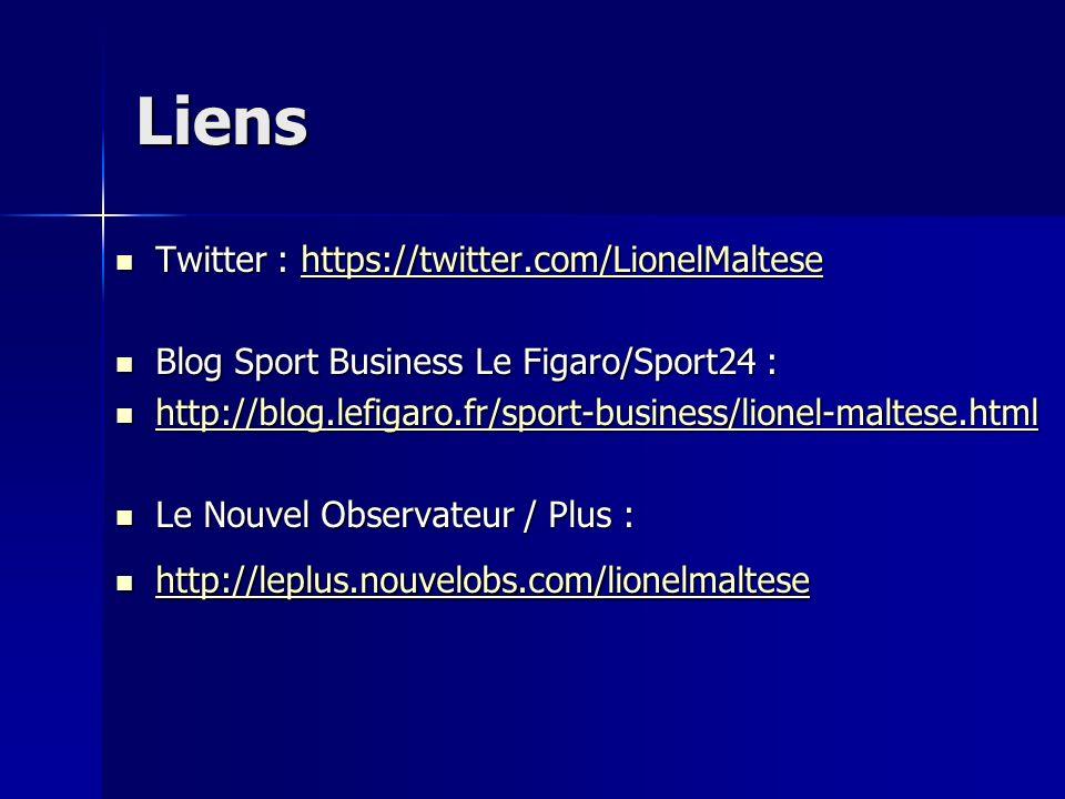 Liens Twitter : https://twitter.com/LionelMaltese Twitter : https://twitter.com/LionelMaltesehttps://twitter.com/LionelMaltese Blog Sport Business Le