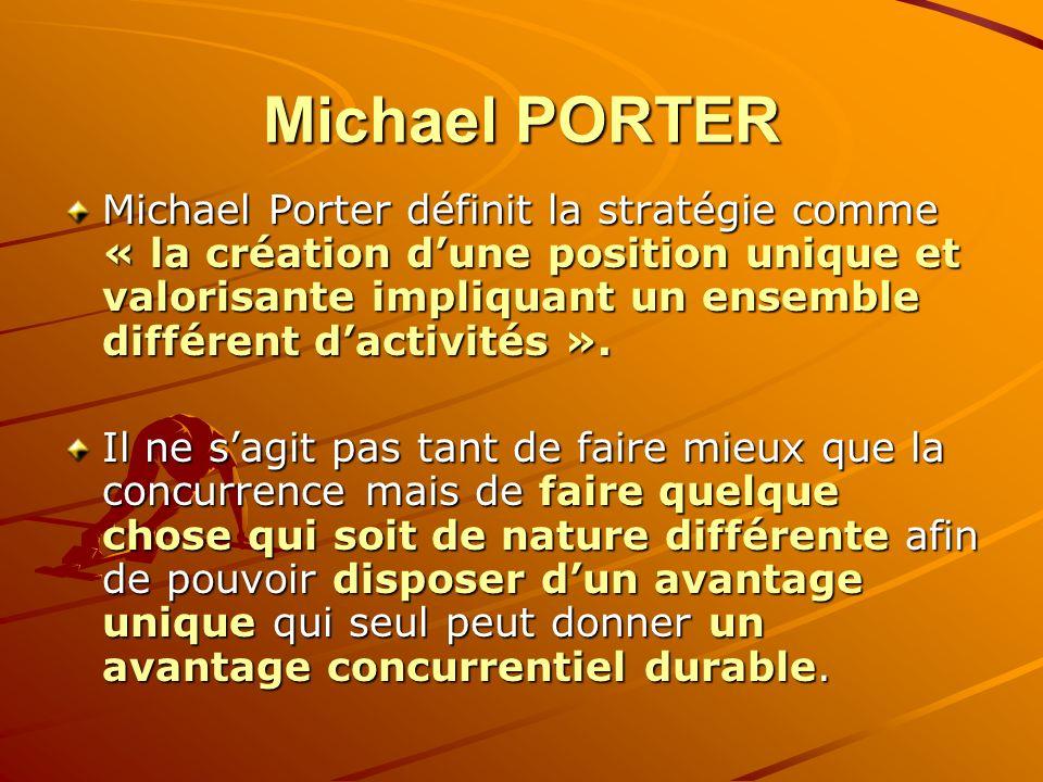 Michael PORTER Michael Porter définit la stratégie comme « la création dune position unique et valorisante impliquant un ensemble différent dactivités
