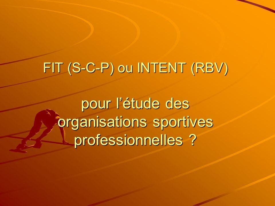 FIT (S-C-P) ou INTENT (RBV) pour létude des organisations sportives professionnelles ?