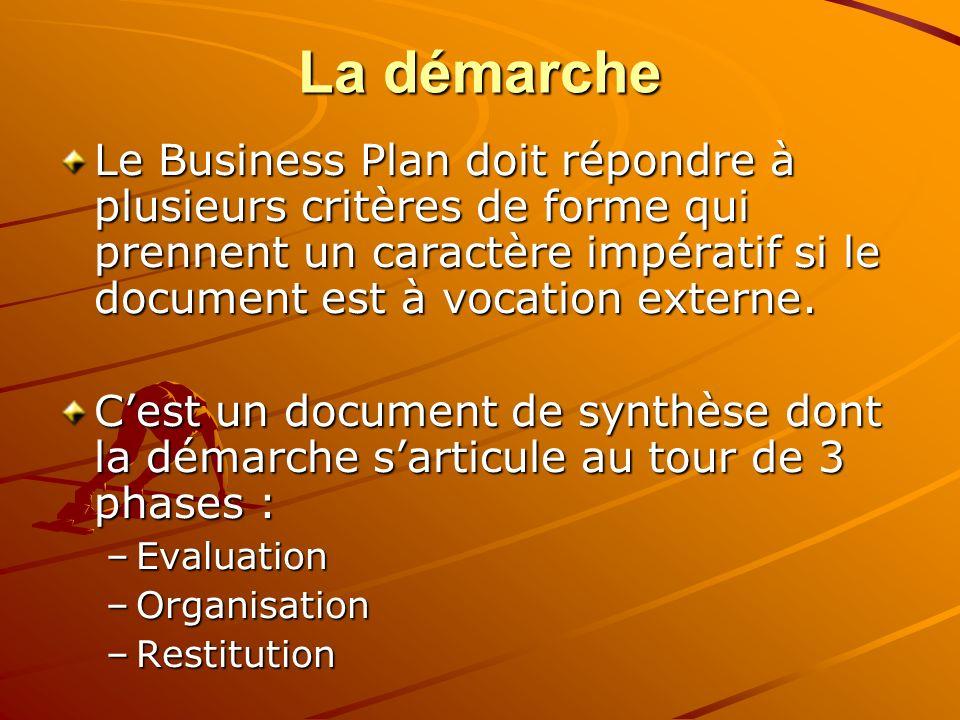 La démarche Le Business Plan doit répondre à plusieurs critères de forme qui prennent un caractère impératif si le document est à vocation externe. Ce