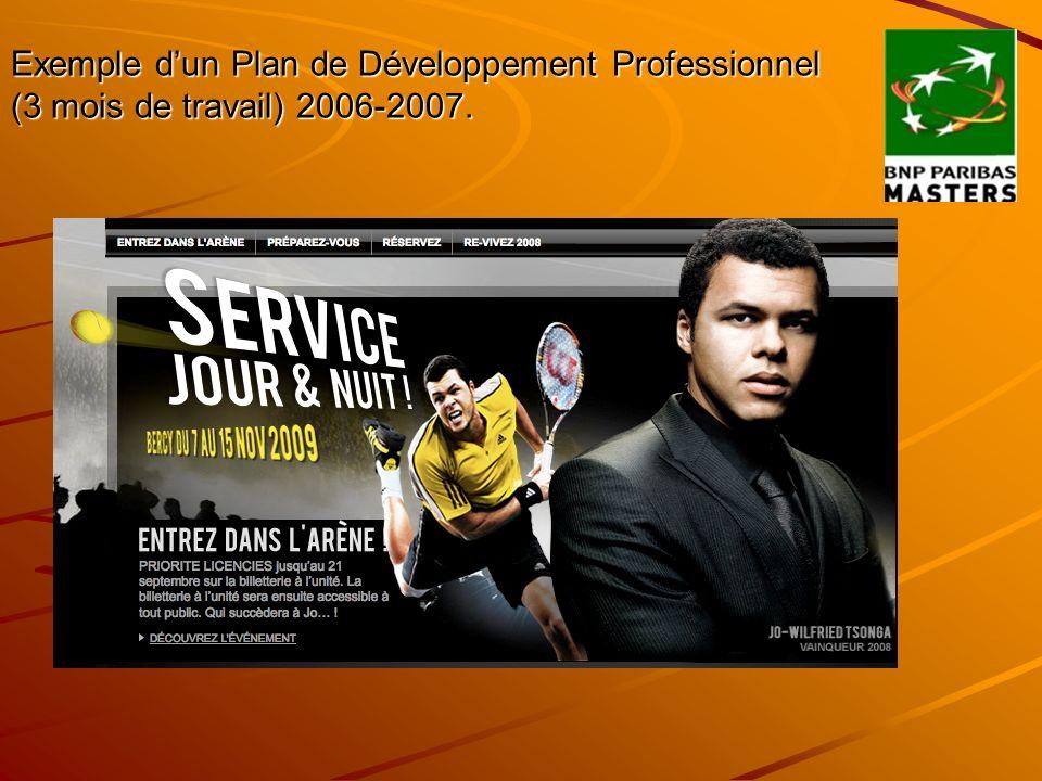 Exemple dun Plan de Développement Professionnel (3 mois de travail) 2006-2007.