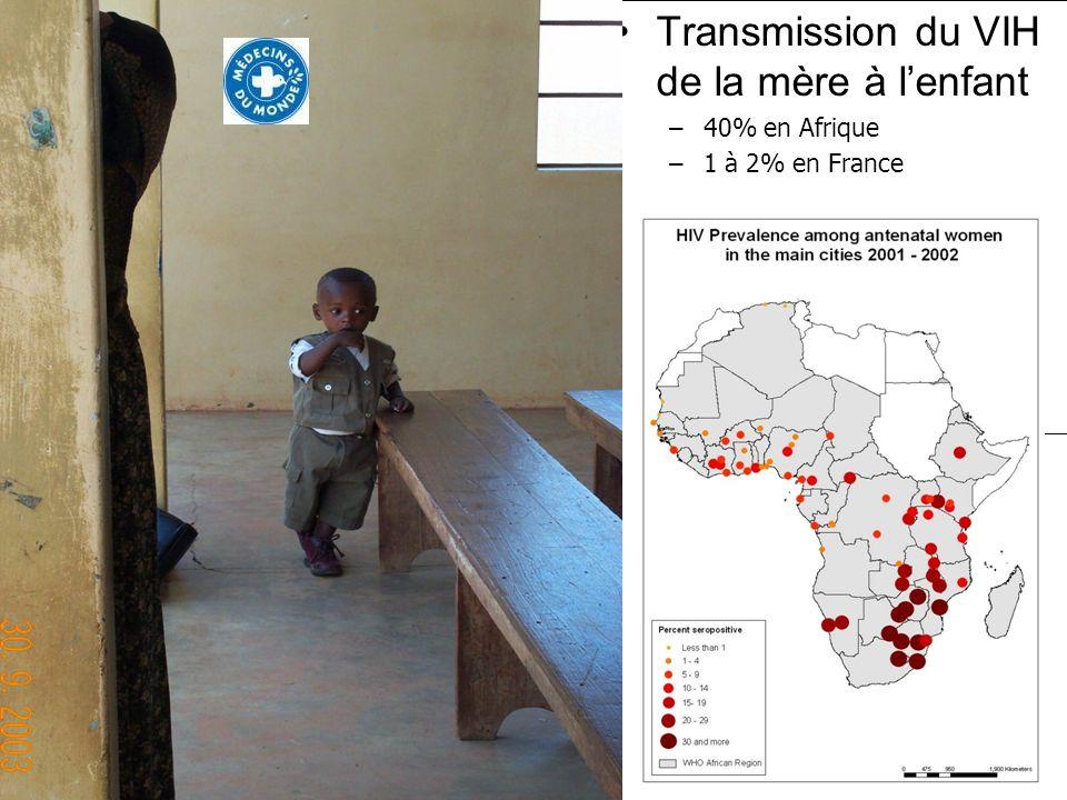 Transmission du VIH de la mère à lenfant –40% en Afrique –1 à 2% en France