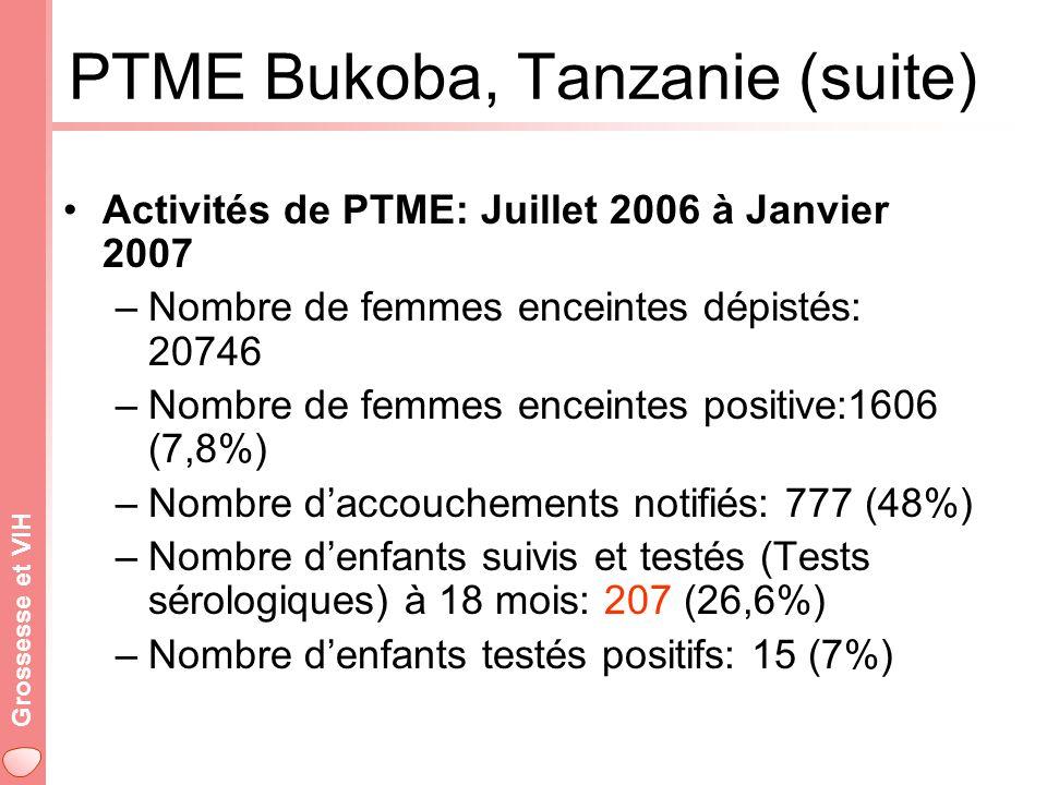 Grossesse et VIH PTME Bukoba, Tanzanie (suite) Activités de PTME: Juillet 2006 à Janvier 2007 –Nombre de femmes enceintes dépistés: 20746 –Nombre de femmes enceintes positive:1606 (7,8%) –Nombre daccouchements notifiés: 777 (48%) –Nombre denfants suivis et testés (Tests sérologiques) à 18 mois: 207 (26,6%) –Nombre denfants testés positifs: 15 (7%)
