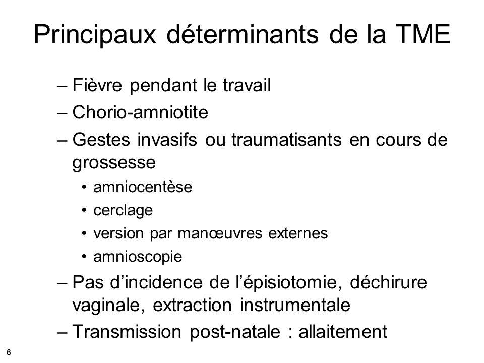 Prévention de la TME Dépistage précoce et systématique –Objectif < 1% de refus si proposé, quelque soit le pays –< 10% de grossesses non dépistées en France –Une règle dor: ne pas compliquer le parcours des femmes enceintes –A renouveler en cours de grossesse si FDR Suivi rapproché (grossesse à risques) Encadrement multidisciplinaire –Notamment psycho-social Traitement antirétroviral +++ Eviter gestes invasifs si accouchement voie basse 7