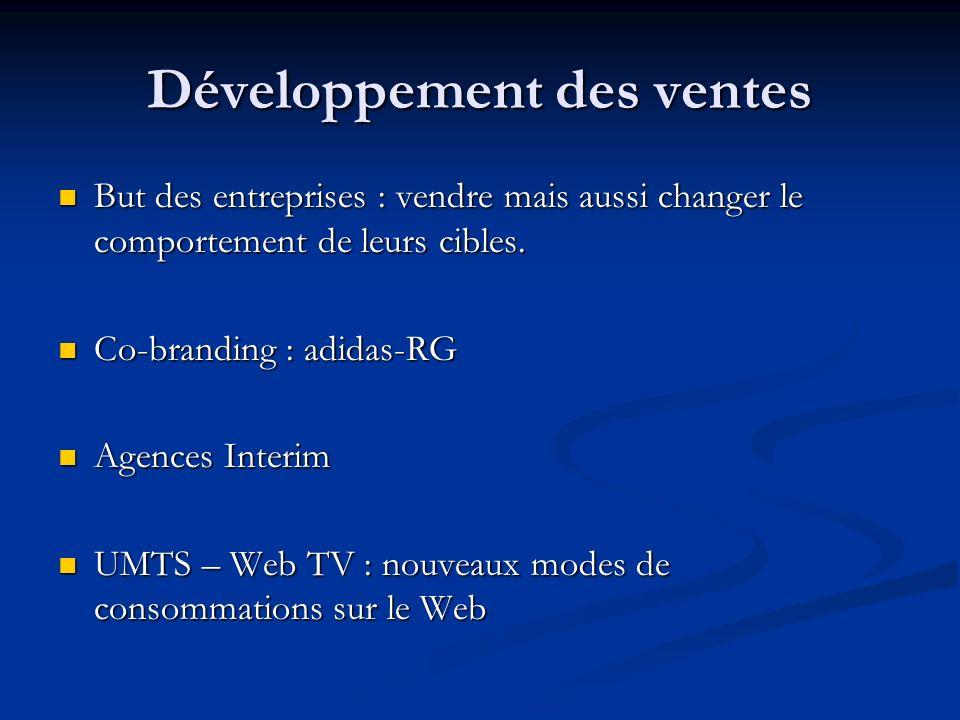 Développement des ventes But des entreprises : vendre mais aussi changer le comportement de leurs cibles. But des entreprises : vendre mais aussi chan