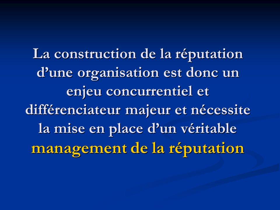 La construction de la réputation dune organisation est donc un enjeu concurrentiel et différenciateur majeur et nécessite la mise en place dun véritab