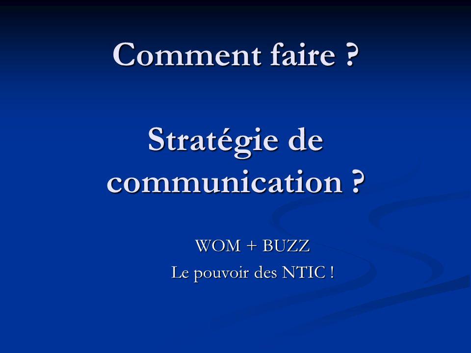 Comment faire ? Stratégie de communication ? WOM + BUZZ Le pouvoir des NTIC !