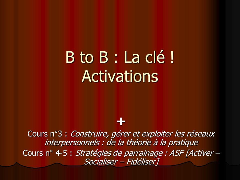 B to B : La clé ! Activations + Cours n°3 : Construire, gérer et exploiter les réseaux interpersonnels : de la théorie à la pratique Cours n° 4-5 : St