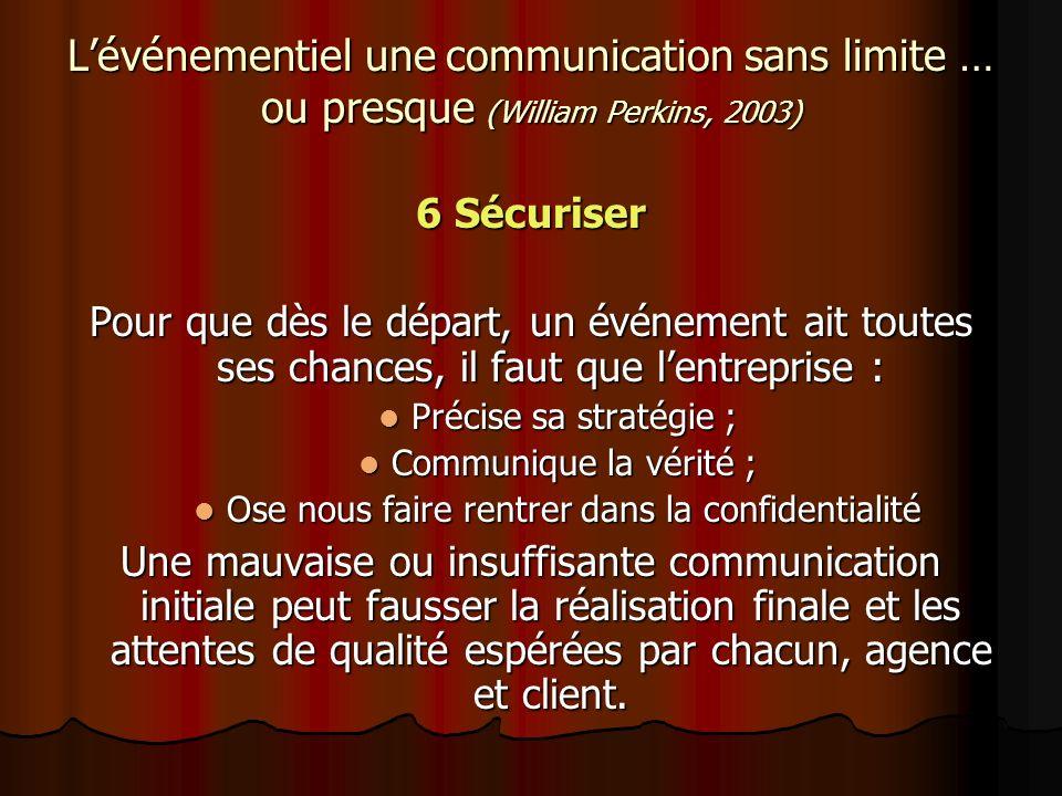 Lévénementiel une communication sans limite … ou presque (William Perkins, 2003) 6 Sécuriser Pour que dès le départ, un événement ait toutes ses chanc