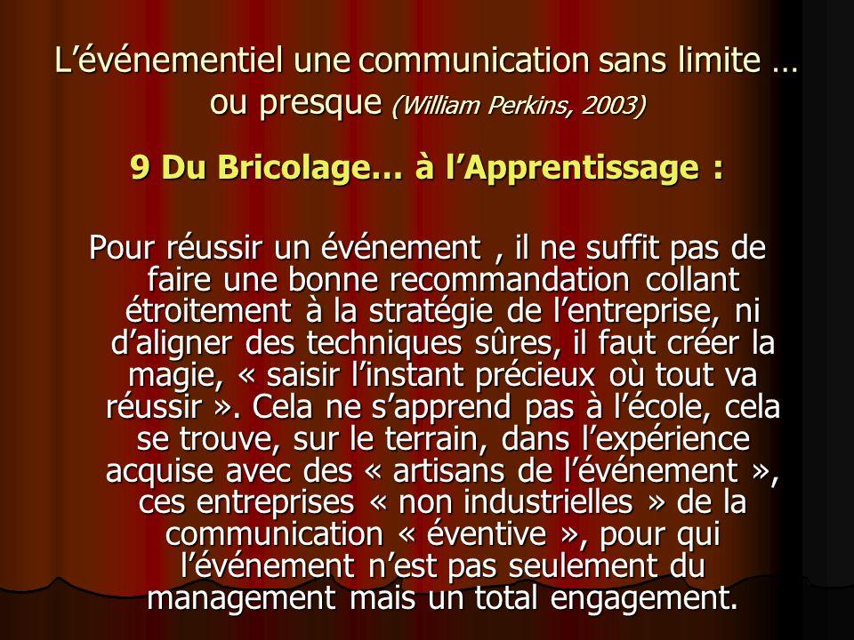Lévénementiel une communication sans limite … ou presque (William Perkins, 2003) 9 Du Bricolage… à lApprentissage : Pour réussir un événement, il ne s
