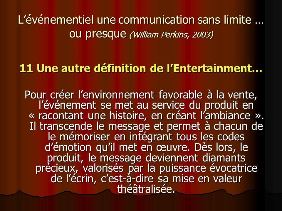 Lévénementiel une communication sans limite … ou presque (William Perkins, 2003) 11 Une autre définition de lEntertainment… Pour créer lenvironnement