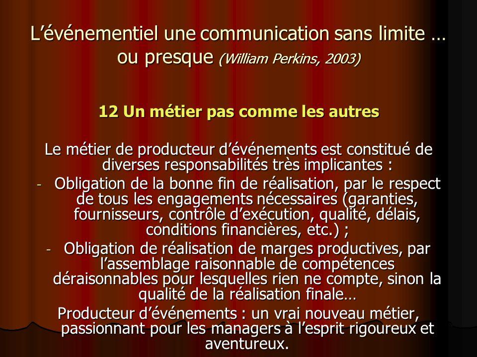 Lévénementiel une communication sans limite … ou presque (William Perkins, 2003) 12 Un métier pas comme les autres Le métier de producteur dévénements
