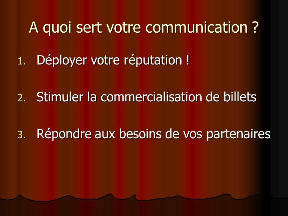 A quoi sert votre communication ? 1. Déployer votre réputation ! 2. Stimuler la commercialisation de billets 3. Répondre aux besoins de vos partenaire