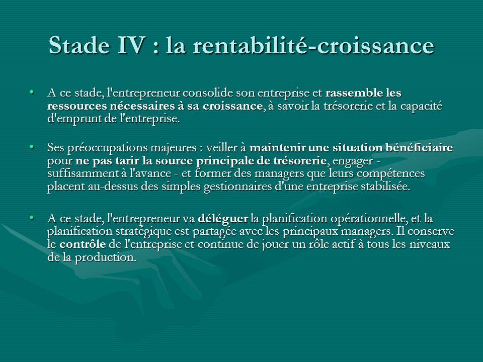 Stade IV : la rentabilité-croissance A ce stade, l'entrepreneur consolide son entreprise et rassemble les ressources nécessaires à sa croissance, à sa