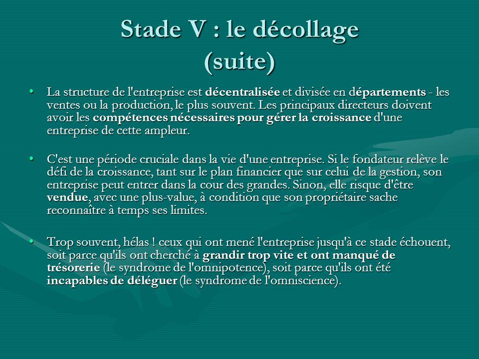 Stade V : le décollage (suite) La structure de l entreprise est décentralisée et divisée en départements - les ventes ou la production, le plus souvent.