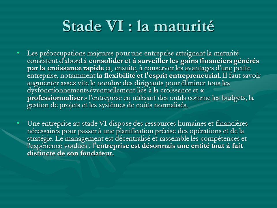 Stade VI : la maturité Les préoccupations majeures pour une entreprise atteignant la maturité consistent d'abord à consolider et à surveiller les gain