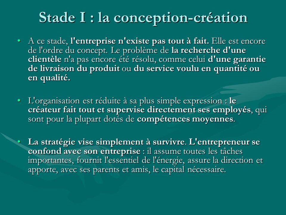 Stade I : la conception-création A ce stade, l'entreprise n'existe pas tout à fait. Elle est encore de l'ordre du concept. Le problème de la recherche
