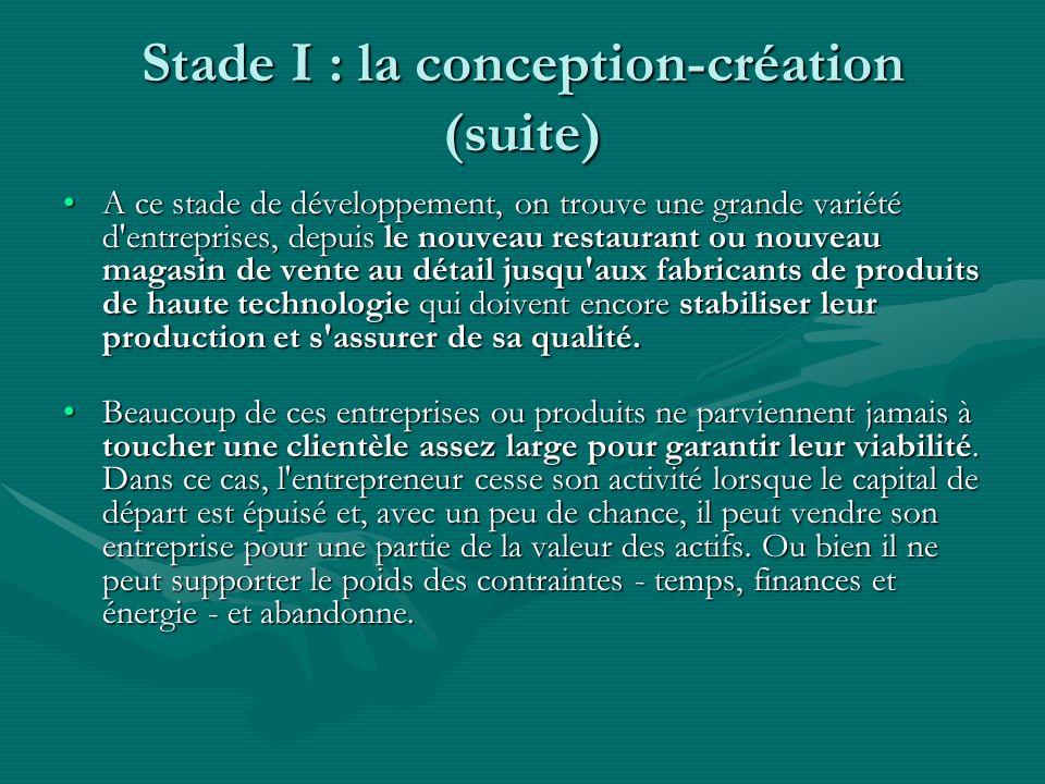 Stade I : la conception-création (suite) A ce stade de développement, on trouve une grande variété d'entreprises, depuis le nouveau restaurant ou nouv
