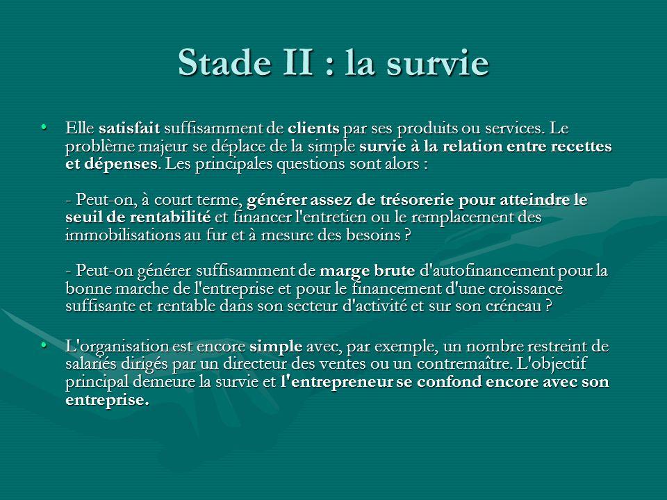 Stade II : la survie Elle satisfait suffisamment de clients par ses produits ou services. Le problème majeur se déplace de la simple survie à la relat