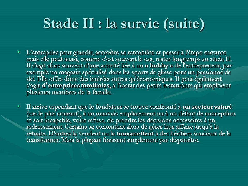 Stade II : la survie (suite) L entreprise peut grandir, accroître sa rentabilité et passer à l étape suivante mais elle peut aussi, comme c est souvent le cas, rester longtemps au stade II.