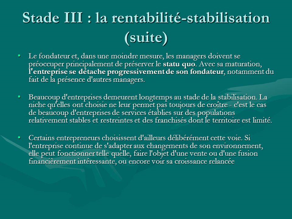 Stade III : la rentabilité-stabilisation (suite) Le fondateur et, dans une moindre mesure, les managers doivent se préoccuper principalement de préser
