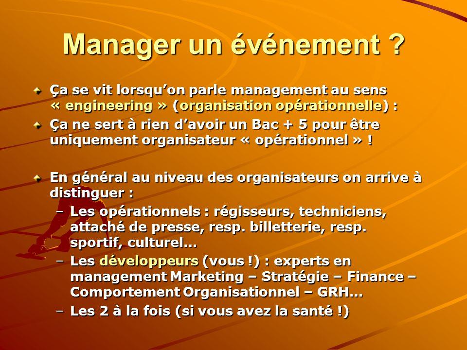 Manager un événement ? Ça se vit lorsquon parle management au sens « engineering » (organisation opérationnelle) : Ça ne sert à rien davoir un Bac + 5