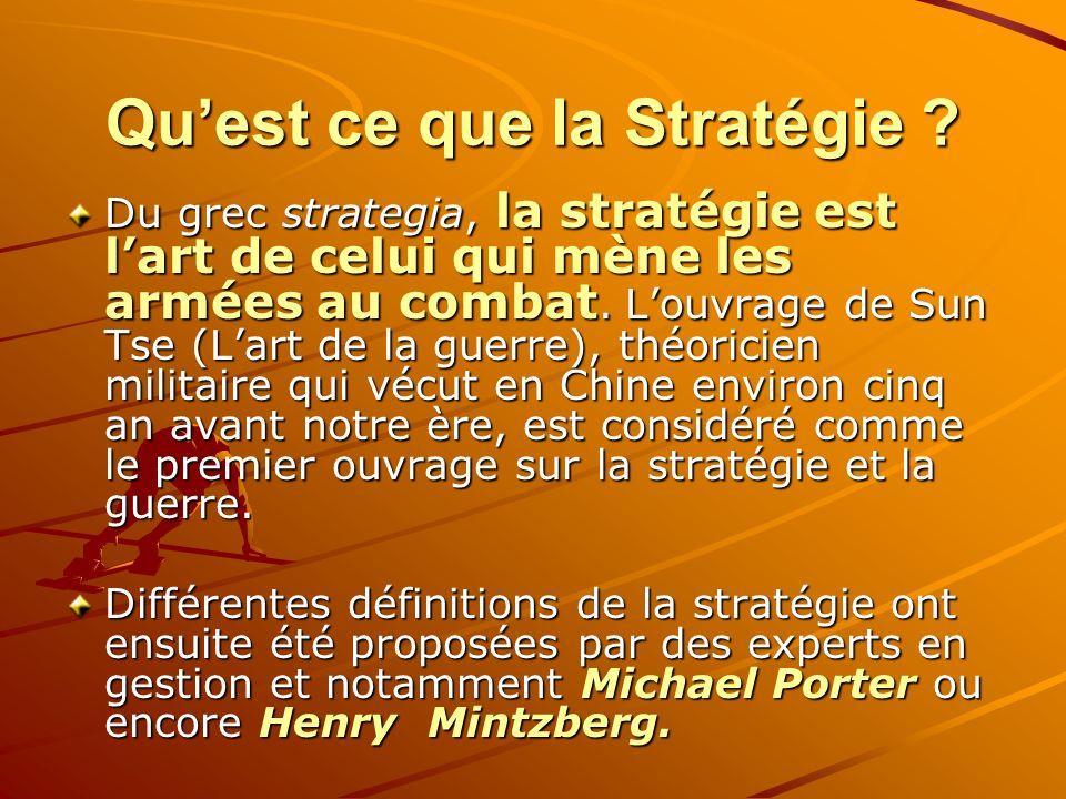 Quest ce que la Stratégie ? Du grec strategia, la stratégie est lart de celui qui mène les armées au combat. Louvrage de Sun Tse (Lart de la guerre),