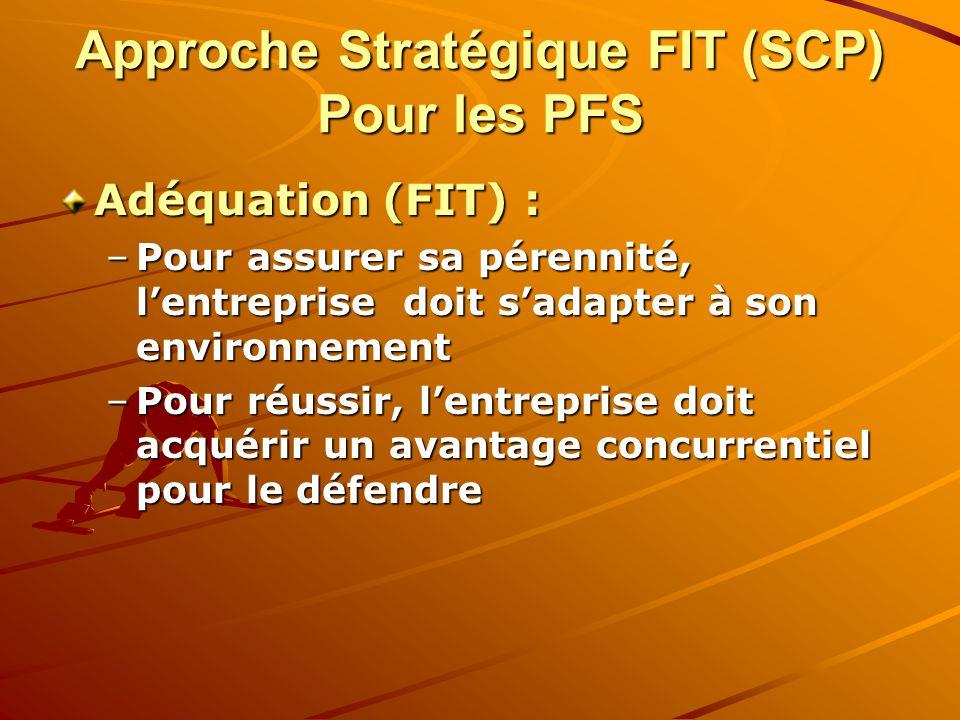 Approche Stratégique FIT (SCP) Pour les PFS Adéquation (FIT) : –Pour assurer sa pérennité, lentreprise doit sadapter à son environnement –Pour réussir