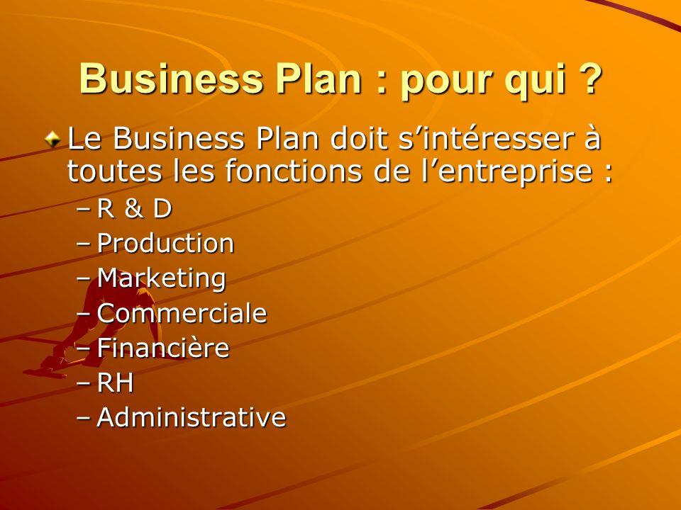 Business Plan : pour qui ? Le Business Plan doit sintéresser à toutes les fonctions de lentreprise : –R & D –Production –Marketing –Commerciale –Finan