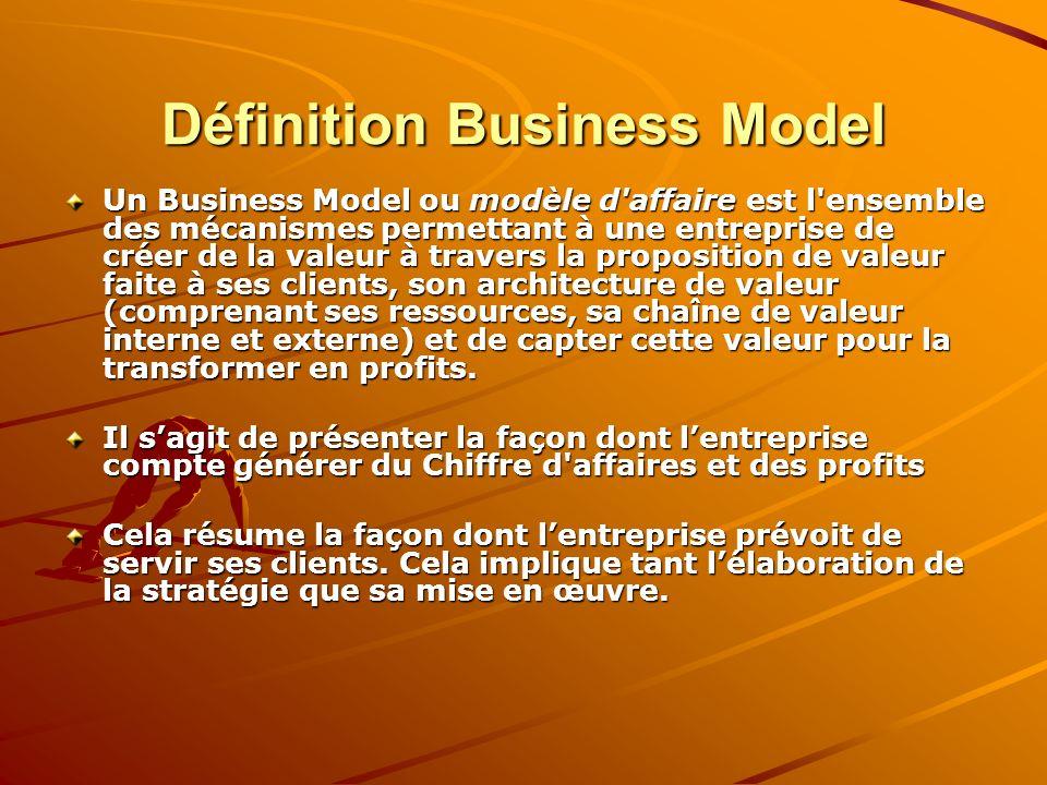 Définition Business Model Un Business Model ou modèle d'affaire est l'ensemble des mécanismes permettant à une entreprise de créer de la valeur à trav