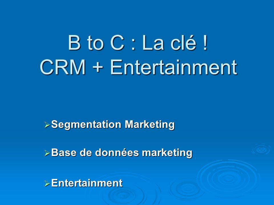 B to C : La clé ! CRM + Entertainment Segmentation Marketing Segmentation Marketing Base de données marketing Base de données marketing Entertainment